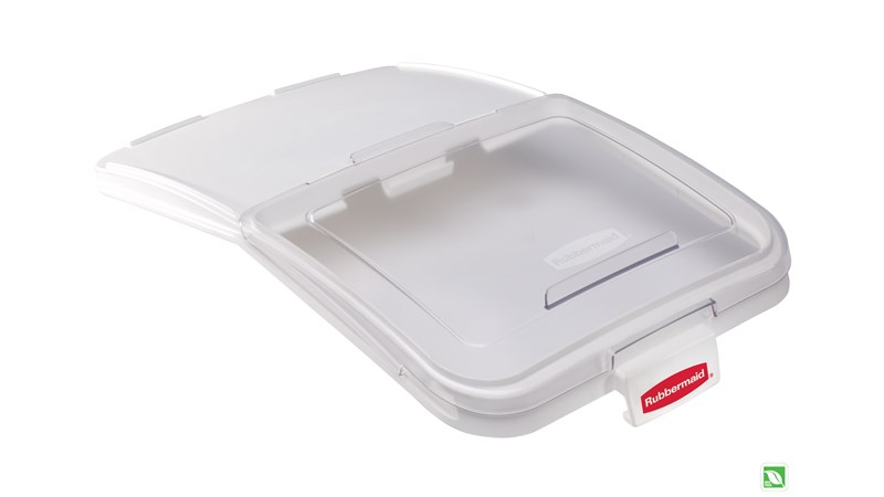 Lid for mobile ingredient bin with patent-pending one handed access and integrated measuring tool