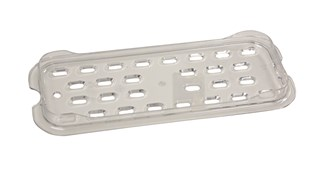The Rubbermaid Commercial 1/3-Size Cold Drain Tray is quieter than metal and won't break, bend, or dent.