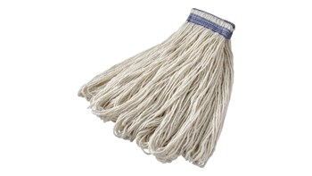 Excellent, all-purpose mop for general cleaning. Looped ends reduce fraying associated with cut-end mops. Universal headband fits both side-loading and clamp-style handles. Recycled content: up to 100% post-industrial cotton.