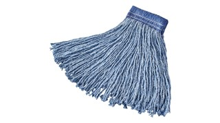 The Rubbermaid Commercial Blended Cut End Floor Mop features a bolt-on head for general purpose mopping.