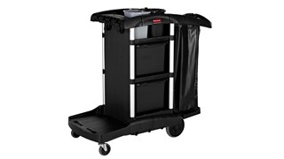 The Rubbermaid Commerical Products Executive Janitorial Cleaning Cart provides discreet removable storage bins that offer more storage and organization while leaving room for customization.