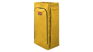 The Rubbermaid Commercial Vinyl Bag for Janitorial Cleaning Carts collects up to 34 gallons of waste (20% more than traditional cart bags) with zippered front for easy trash removal.