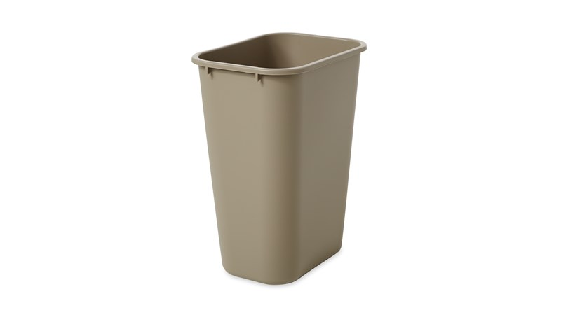 The Rubbermaid Commercial Untouchable® Top and Soft Wastebasket Combo Pack is made of LLDPE (linear low-density polyethylene), which has greater resistance to dents, cracks, punctures, and ultraviolet (UV) rays than LDPE (low-density polyethylene).