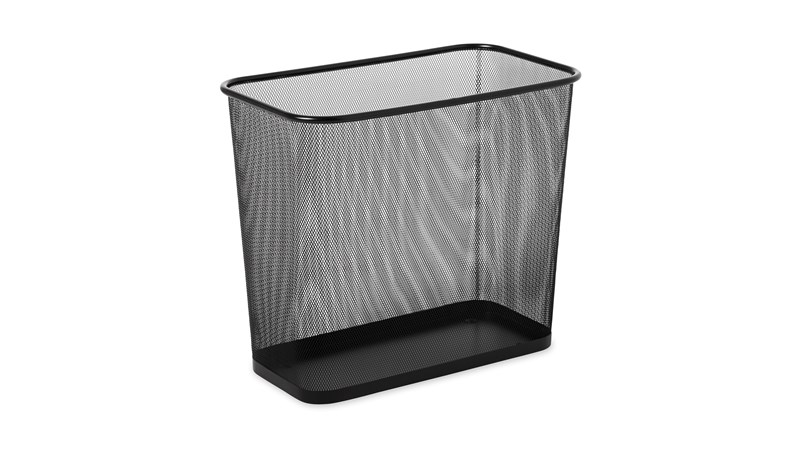 The Rubbermaid Commercial Trash Can is space-efficient and economical. This trash can is manufactured with fire-safe steel and powder-coated to a black finish.