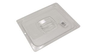 The Rubbermaid Commercial Cold Food Pan Cover with Peg Hole is break resistant and won't rust, dent, or bend.