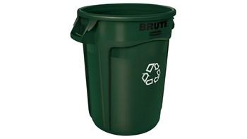 Vented BRUTE® Recycling 32 Gal Dark Green