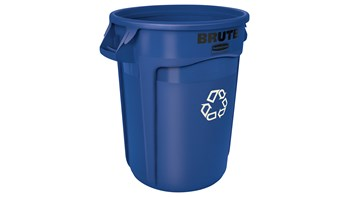 Vented BRUTE® Recycling 32 Gal Blue