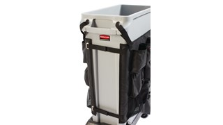 The Rubbermaid Commercial Slim Jim® Caddy Bag maximizes space efficiency by providing onboard storage for all of the supplies needed for cleaning and liner changes on-the-go.