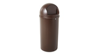 The Rubbermaid Commercial Marshal® Classic Trash Can with Retainer Bands features a domed and textured top.
