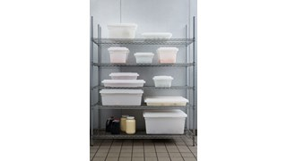 White, 5 Gallon Food box maximizes storage space while reducing food spoilage costs with date control panels.