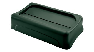 The Rubbermaid Commercial Slim Jim® Swing Lid promotes recycling and improves productivity. The swing lid provides easy access for trash disposal and then swings back to hide trash from public view. Lids encourage waste separation and recycling with interchangeable, color-coded tops. The heavy-duty sturdy plastic is rust-proof and easy to clean.