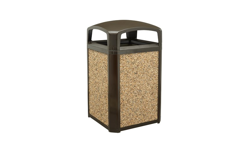 Landmark Series® Classic Containers with Dome Top Ash Tray combine waste collection and smoking management for high-traffic outdoor areas. Easy-to-service design features a hinged top with a stay-open strap for access to rigid liner enabling quick waste removal.