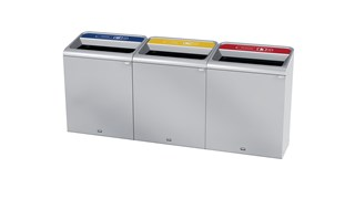 """The Configure™ Decorative Waste Containers provide a recycling solution with sleek, smooth surfaces and contoured edges. This recycling system has a modern appearance that will fit seamlessly into any indoor or outdoor commercial environment. Please note: this SKU is a Configure™ 1-Stream 45 Gallon container with a """"Cans"""" label."""