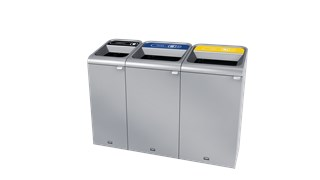 "The Configure™ Decorative Waste Containers provide a recycling solution with sleek, smooth surfaces and contoured edges. This recycling system has a modern appearance that will fit seamlessly into any indoor or outdoor commercial environment. Please note: this SKU is a Configure™ 1-Stream 23 Gallon container with a ""Cans"" label."