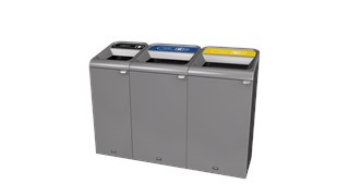"The Configure™ Decorative Waste Containers provide a recycling solution with sleek, smooth surfaces and contoured edges. This recycling system has a modern appearance that will fit seamlessly into any indoor or outdoor commercial environment. Please note: this SKU is a Configure™ 1-Stream 33 Gallon container with a ""Cans"" label."