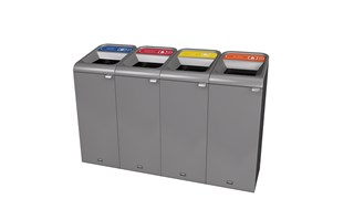 "The Configure™ Decorative Waste Containers provide a recycling solution with sleek, smooth surfaces and contoured edges. This recycling system has a modern appearance that will fit seamlessly into any indoor or outdoor commercial environment. Please note: this SKU is a Configure™ 1-Stream 15 Gallon container with a ""Glass"" label."