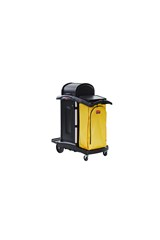 Janitorial Cleaning Cart with Doors and Hood  – High Security, Black