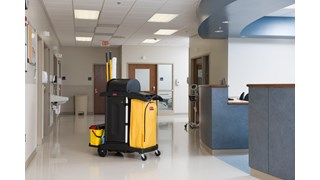 The Rubbermaid Commercial Executive High-Security Janitorial Cleaning Cart provides the most secure cart, featuring quiet casters and ball-bearing wheels along with preassembled locking hood and doors