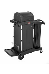 Executive Janitorial Cleaning Cart with Doors and Hood –  High Security, Black