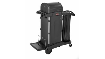 The Rubbermaid Commercial Executive High-Security Janitorial Cleaning Cart provides the most discreet and secure cart, featuring quiet casters and ball-bearing wheels along with preassembled locking hood and doors