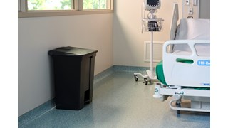 The Rubbermaid Commercial Step-On Container provides sanitary waste management. The step-on foot pedal reduces contamination and improves working conditions.