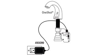 Convert from Battery Pack to AC Power and eliminate the need for batteries with OneShot® Automatic Soap Dispensers and AutoFaucet®.