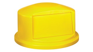 The Rubbermaid Commercial Vented BRUTE® Dome Top Lid is built tough with a snap-lock design for a perfect fit. A spring door makes trash disposal easy and prevents insects from entering the receptacle.