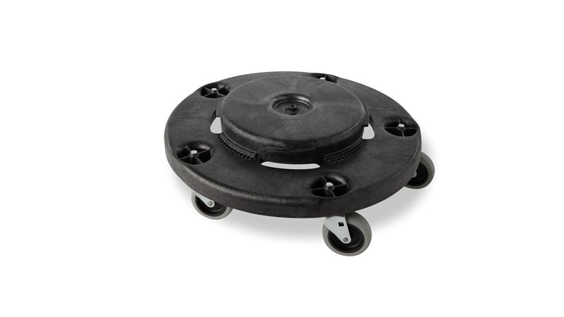 Rubbermaid Commercial BRUTE® Dolly smoothly and efficiently transports 20, 32, 44, and 55-gallon BRUTE® containers easily and quickly.