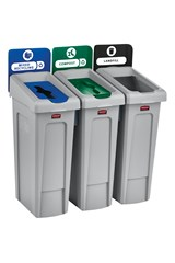 Slim Jim® Recycling Station 3 Stream Landfill/Mixed Recycling/Compost