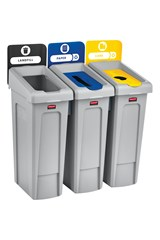 Slim Jim® Recycling Station 3 Stream Landfill/Paper/BottlesCans