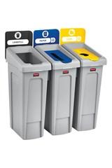 Slim Jim® Recycling Station 3 Stream Landfill/Paper/BottlesCans