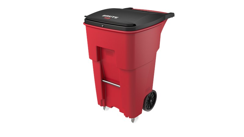 The Rubbermaid Commercial Medical Waste Rollouts with Casters are designed for use in the healthcare industry. Locking lids keep regulated medical waste secure, smooth contours make cleaning easier, and front swivel casters enable balanced maneuverability.