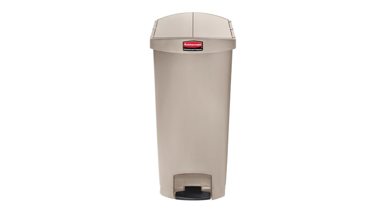 The Rubbermaid Commercial Slim Jim® Step-On Container features a slim profile and small footprint to fit in tightest spaces. Slim Jim® Step-On containers are constructed with premium-quality materials and meet the needs of any environment with efficiency, safety, and durability.