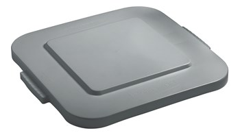 Rubbermaid Commercial BRUTE® square container lids reduce pooling when containers are stored outside. The heavy-duty, durable trash can lids snap on for secure, stable stacking.