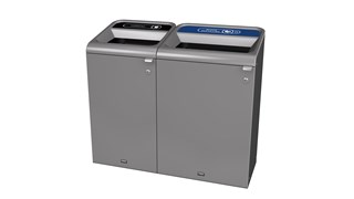 "The Configure™ Decorative Waste Containers provide a recycling solution with sleek, smooth surfaces and contoured edges. This recycling system has a modern appearance that will fit seamlessly into any indoor or outdoor commercial environment. Please note: this SKU is a Configure™ 1-Stream 33 Gallon container with a ""Mixed Recycling"" label."