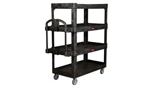 The 4-Shelf Heavy-Duty Ergo Utility Cart provides 2X the storage capacity* to help move more materials efficiently and safely throughout a facility.