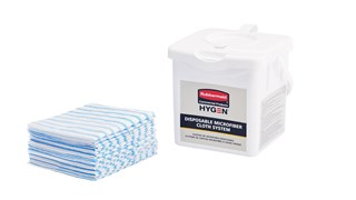 """The HYGEN™ Disposable Microfiber Charging Tub is designed to hold up to 60 HYGEN™ 12"""" x 12"""" Disposable Microfiber Cloths and a facility's preferred solution to create disposable pre-treated wipes with the microbe removal power of microfiber."""