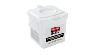 "The HYGEN™ Disposable Microfiber Charging Bucket is designed to hold up to 60 HYGEN™ 12"" x 12"" Disposable Microfiber Cloths and a facility's preferred solution to create disposable pre-treated wipes with the microbe removal power of microfiber."