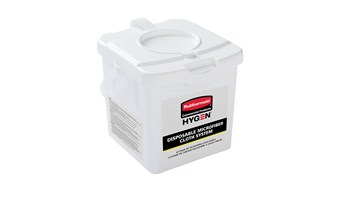 """The HYGEN™ Disposable Microfiber Charging Bucket is designed to hold up to 60 HYGEN™ 12"""" x 12"""" Disposable Microfiber Cloths and a facility's preferred solution to create disposable pre-treated wipes with the microbe removal power of microfiber."""