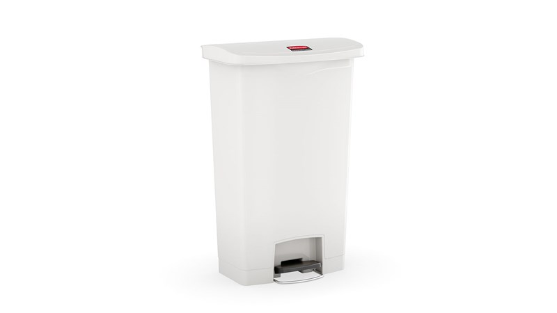 The Rubbermaid Commercial Streamline®  Step-On Container features a slim profile and small footprint to fit in tightest spaces. Streamline®  Step-On containers are constructed with premium-quality materials and meet the needs of any environment with efficiency, safety, and durability.