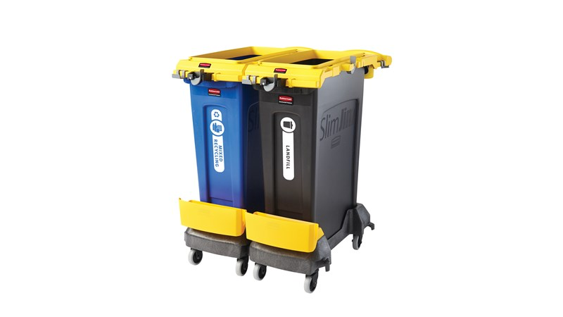 Rubbermaid Commercial 2-Stream Slim Jim® Cleaning Cart is a compact and purpose-built solution for all-in-one sanitation and waste collection. The cleaning cart helps store and transport common cleaning tools, hand sanitizer, and disinfecting wipes. It consolidates all the supplies you need in one solution to reduce trips and improve cleaning productivity.