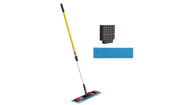 The Adaptable Flat Mop Kit is made for ergonomic microfiber mopping in large spaces using your existing WaveBrake® Mop Bucket.