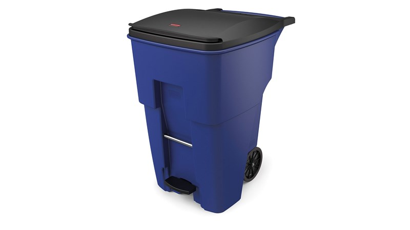The Rubbermaid Commercial Step-On Rollouts are designed to make managing facility waste easier. With one step, the pedal lifts the lid and allows for hands-free waste disposal.