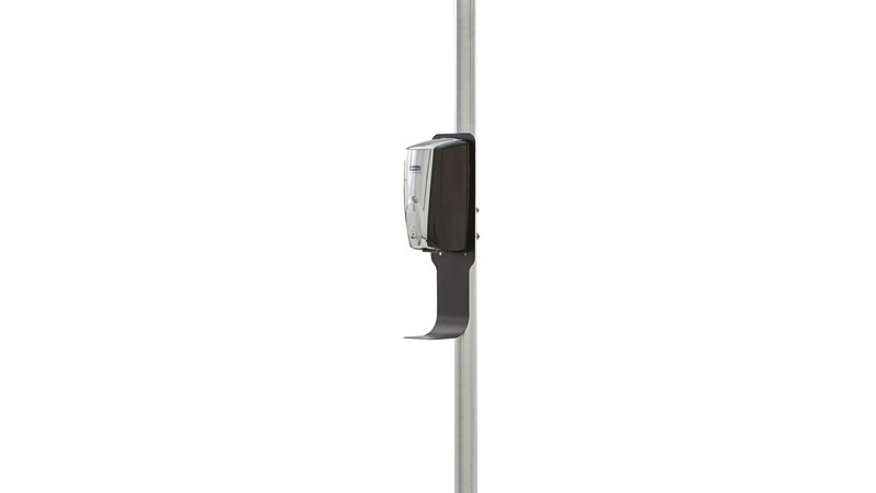 Pole Mount Station can be mounted to a horizontal or vertical pole to promote touch-free hand hygiene anywhere in your facility.
