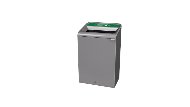"The Configure™ Decorative Waste Containers provide a recycling solution with sleek, smooth surfaces and contoured edges. This recycling system has a modern appearance that will fit seamlessly into any indoor or outdoor commercial environment. Please note: this SKU is a Configure™ 1-Stream 33 Gallon container with an ""Organic Waste"" label."