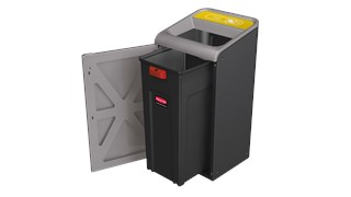 "The Configure™ Decorative Waste Containers provide a recycling solution with sleek, smooth surfaces and contoured edges. This recycling system has a modern appearance that will fit seamlessly into any indoor or outdoor commercial environment. Please note: this SKU is a Configure™ 1-Stream 45 Gallon container with a ""Cans"" label."