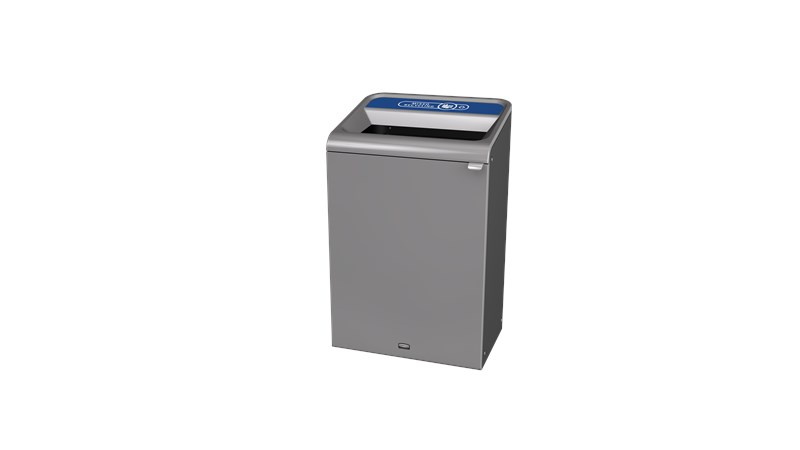 """The Configure™ Decorative Waste Containers provide a recycling solution with sleek, smooth surfaces and contoured edges. This recycling system has a modern appearance that will fit seamlessly into any indoor or outdoor commercial environment. Please note: this SKU is a Configure™ 1-Stream 33 Gallon container with a """"Mixed Recycling"""" label."""