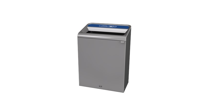 """The Configure™ Decorative Waste Containers provide a recycling solution with sleek, smooth surfaces and contoured edges. This recycling system has a modern appearance that will fit seamlessly into any indoor or outdoor commercial environment. Please note: this SKU is a Configure™ 1-Stream 45 Gallon container with a """"Mixed Recycling"""" label."""