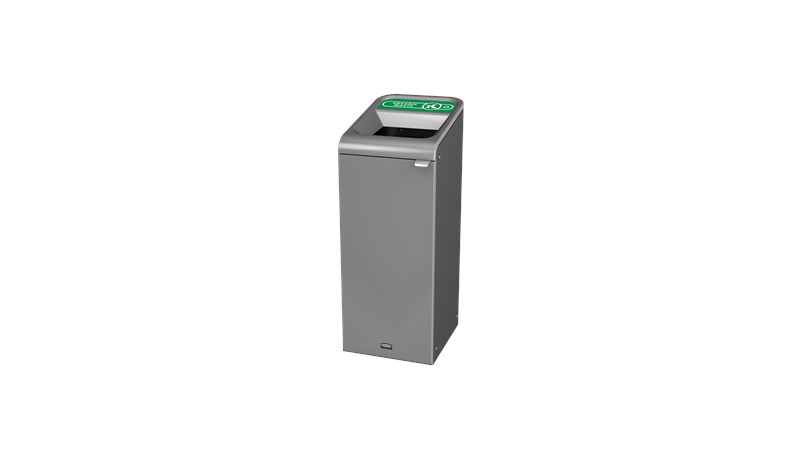 """The Configure™ Decorative Waste Containers provide a recycling solution with sleek, smooth surfaces and contoured edges. This recycling system has a modern appearance that will fit seamlessly into any indoor or outdoor commercial environment. Please note: this SKU is a Configure™ 1-Stream 15 Gallon container with an """"Organic Waste"""" label."""