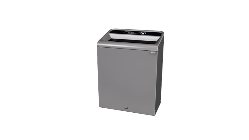 "The Configure™ Decorative Waste Containers provide a recycling solution with sleek, smooth surfaces and contoured edges. This recycling system has a modern appearance that will fit seamlessly into any indoor or outdoor commercial environment. Please note: this SKU is a Configure™ 1-Stream 45 Gallon container with a ""Landfill"" label."